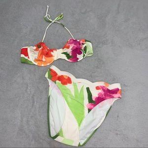 Vintage Retro Floral 90s High Hip Scalloped Bikini